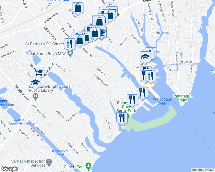 map of restaurants, bars, coffee shops, grocery stores, and more near 92 S Clinton Ave in Bay Shore
