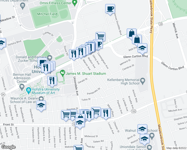 map of restaurants, bars, coffee shops, grocery stores, and more near Marvin Ave in Uniondale