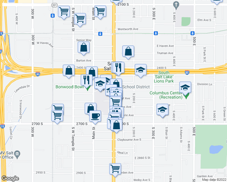 map of restaurants, bars, coffee shops, grocery stores, and more near 2507 South State Street in South Salt Lake