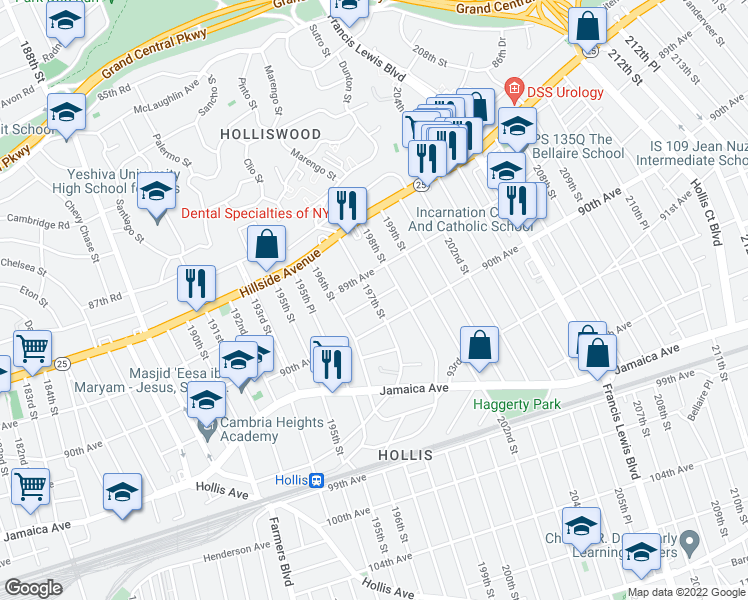 map of restaurants, bars, coffee shops, grocery stores, and more near 197th Street in Queens