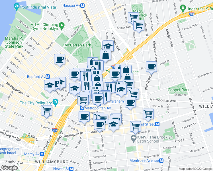map of restaurants, bars, coffee shops, grocery stores, and more near Leonard Street & Jackson Street in Brooklyn