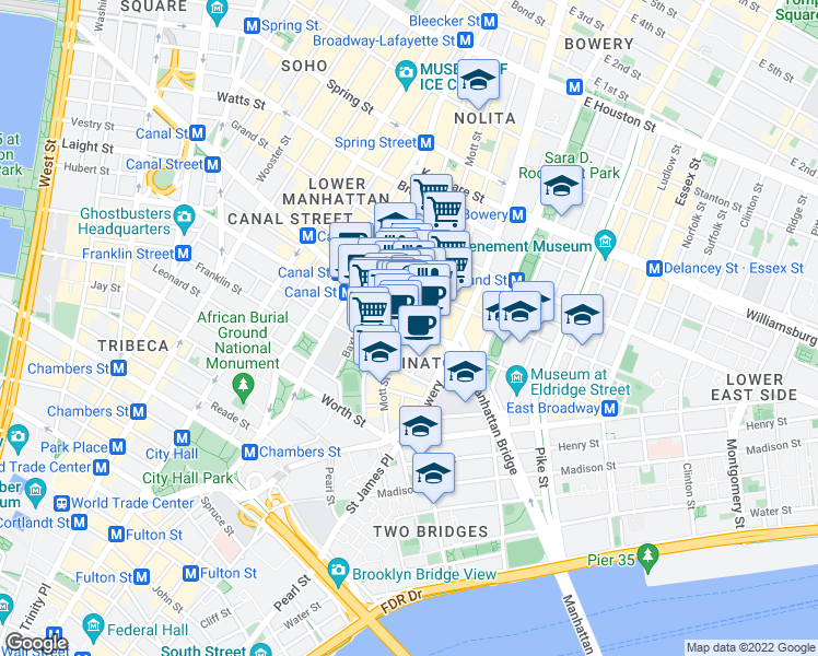 map of restaurants, bars, coffee shops, grocery stores, and more near 102 Mulberry Street in New York
