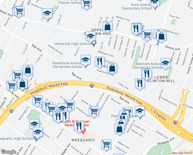 map of restaurants, bars, coffee shops, grocery stores, and more near 18-28 Wolcott Terrace in Newark