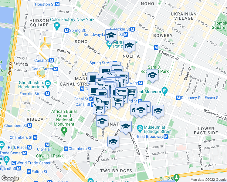 map of restaurants, bars, coffee shops, grocery stores, and more near Grand Street & Mulberry Street in New York