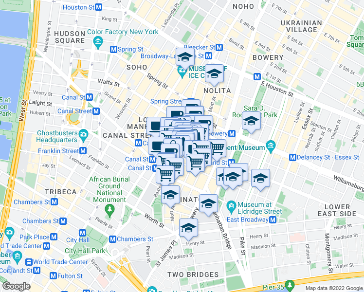 map of restaurants, bars, coffee shops, grocery stores, and more near 145 Baxter Street in New York