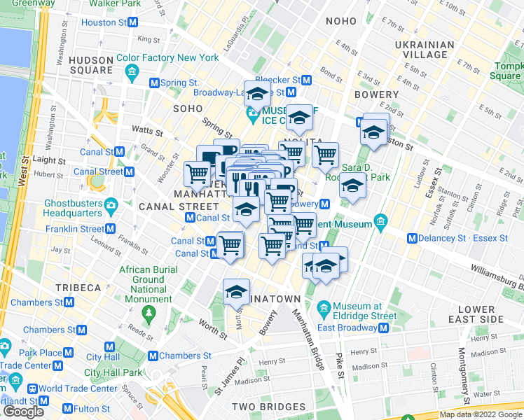 map of restaurants, bars, coffee shops, grocery stores, and more near 241-247 Centre Street in New York