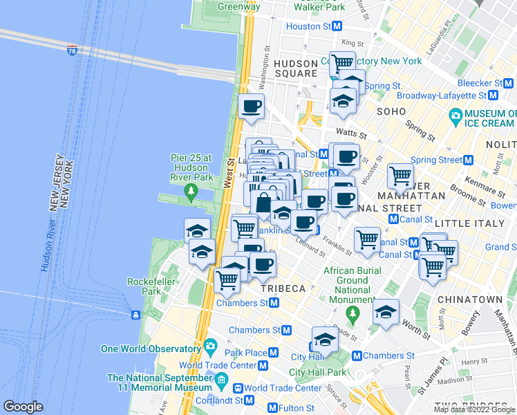 map of restaurants, bars, coffee shops, grocery stores, and more near Greenwich St & N Moore St in New York