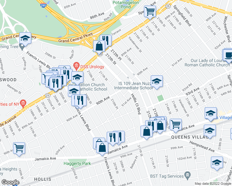 map of restaurants, bars, coffee shops, grocery stores, and more near 90th Ave & 211th St in Queens