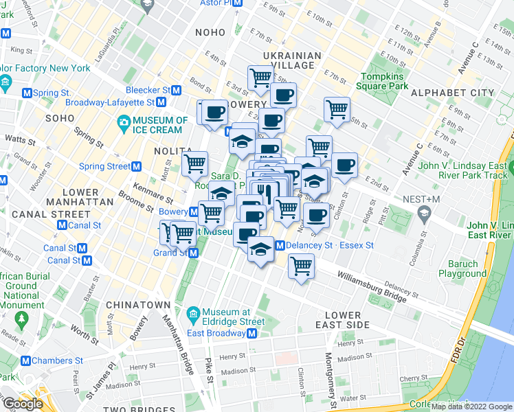map of restaurants, bars, coffee shops, grocery stores, and more near 144 Orchard Street in New York