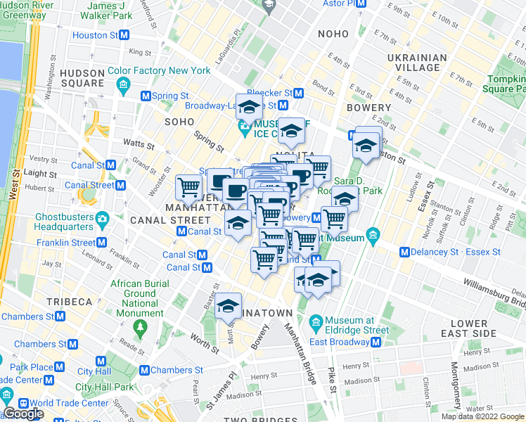 map of restaurants, bars, coffee shops, grocery stores, and more near 57 Kenmare Street in New York