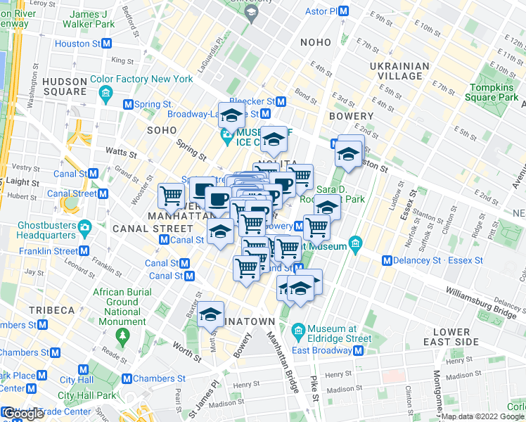 map of restaurants, bars, coffee shops, grocery stores, and more near Kenmare Street & Mott Street in New York