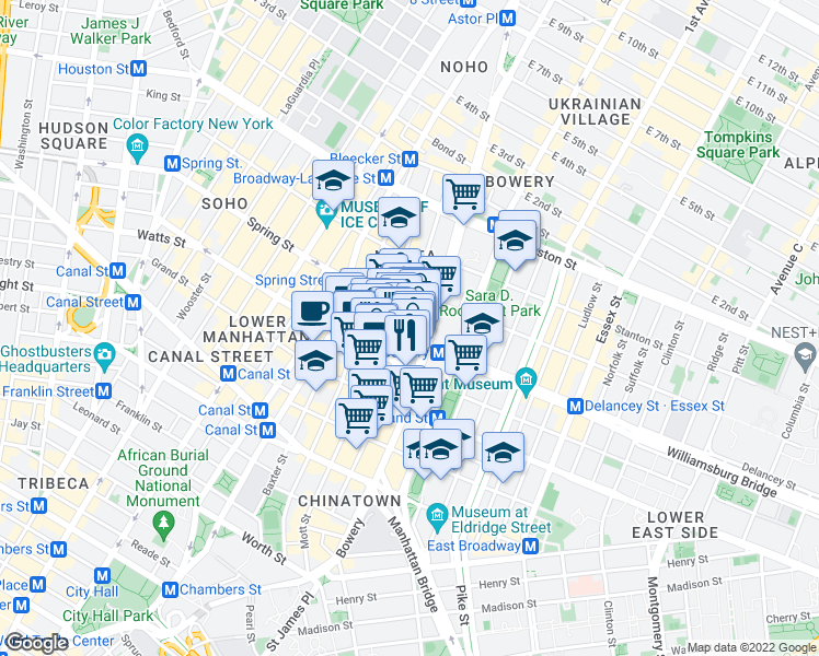 map of restaurants, bars, coffee shops, grocery stores, and more near 356 Broome Street in New York