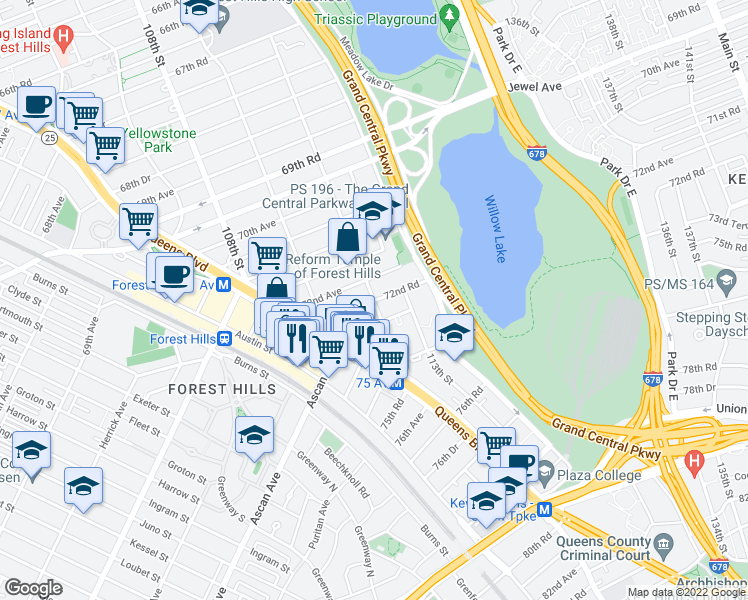 map of restaurants, bars, coffee shops, grocery stores, and more near 112th Street in Queens