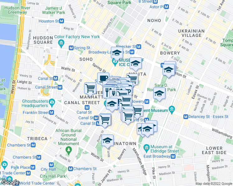 map of restaurants, bars, coffee shops, grocery stores, and more near 249 Centre Street in New York