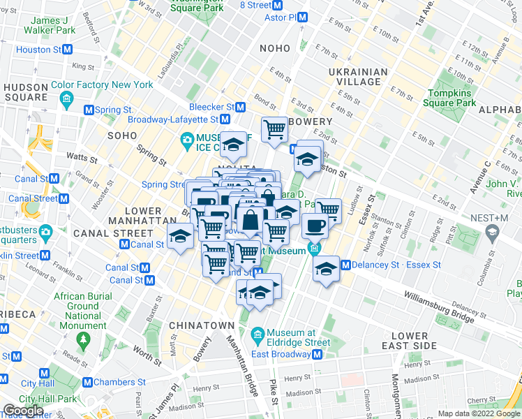 map of restaurants, bars, coffee shops, grocery stores, and more near 1-5 Spring Street in New York