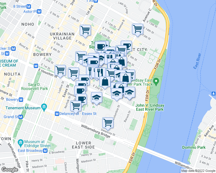 map of restaurants, bars, coffee shops, grocery stores, and more near Avenue C & East 3rd Street in New York