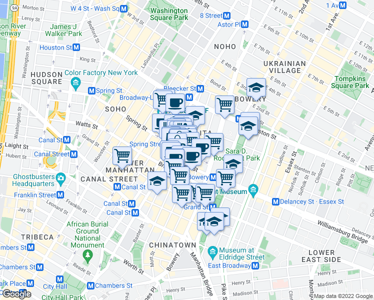 map of restaurants, bars, coffee shops, grocery stores, and more near 225 Lafayette Street in New York