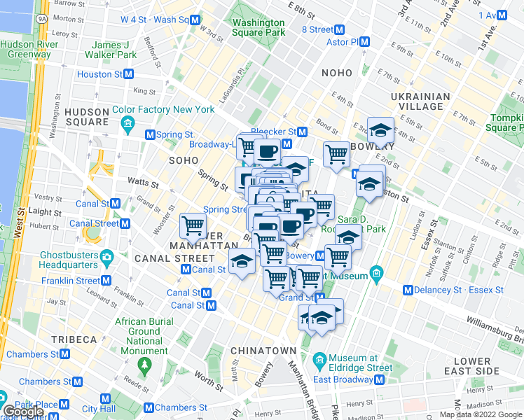 map of restaurants, bars, coffee shops, grocery stores, and more near 236 Mulberry Street in New York