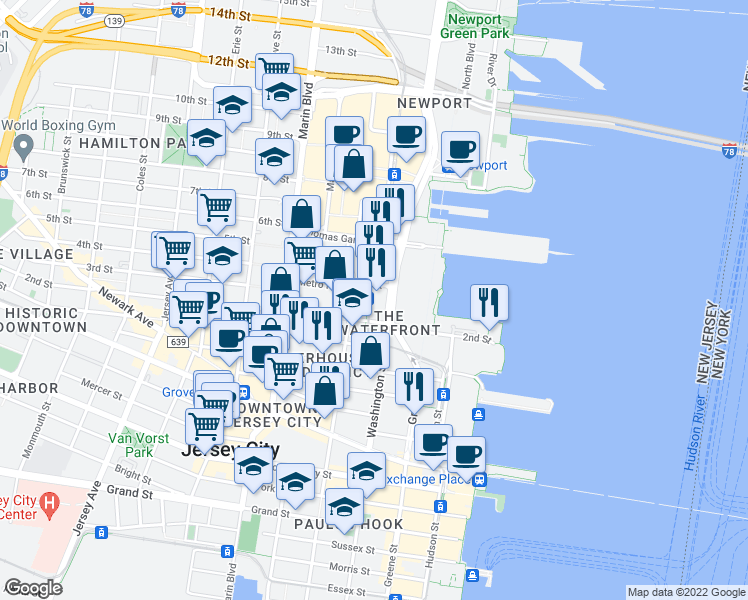map of restaurants, bars, coffee shops, grocery stores, and more near in Jersey City