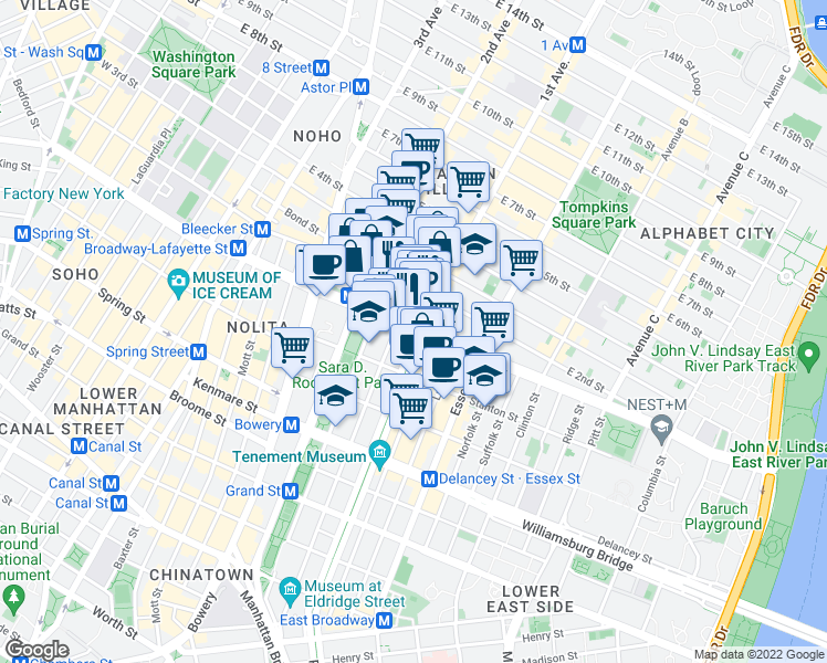 map of restaurants, bars, coffee shops, grocery stores, and more near 76 1st Street (corner of 1st ave) in New York