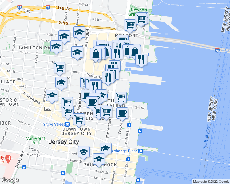 map of restaurants, bars, coffee shops, grocery stores, and more near 4402-5796 Washington Boulevard in Jersey City