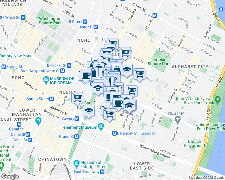 map of restaurants, bars, coffee shops, grocery stores, and more near 1st Ave & E 1st St in New York