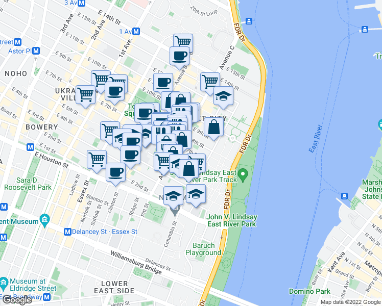 map of restaurants, bars, coffee shops, grocery stores, and more near 252 East 7th Street in New York