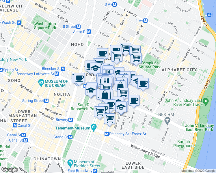 map of restaurants, bars, coffee shops, grocery stores, and more near 1st Ave & E 2nd St in New York
