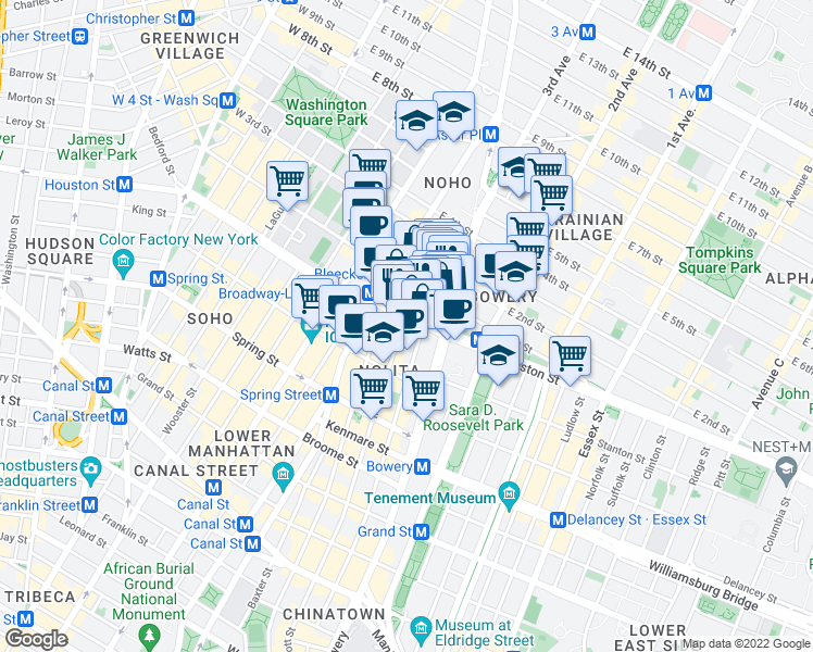 map of restaurants, bars, coffee shops, grocery stores, and more near 269-299 Elizabeth Street in New York