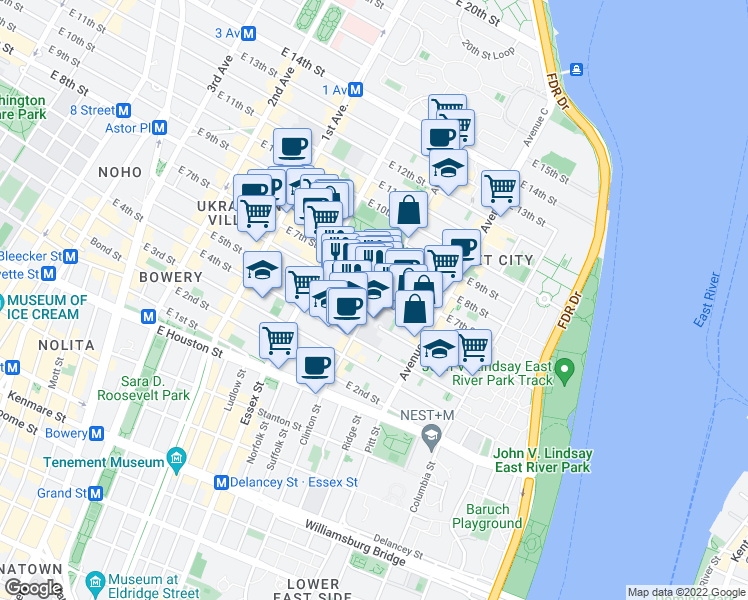 map of restaurants, bars, coffee shops, grocery stores, and more near East 6th Street & Avenue B in New York