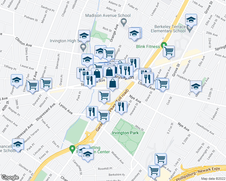 map of restaurants, bars, coffee shops, grocery stores, and more near 43 Union Ave in Irvington