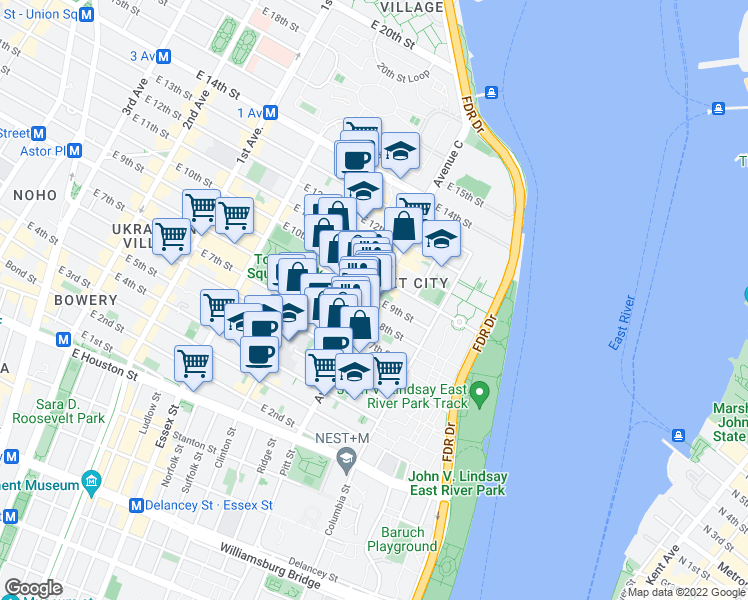 map of restaurants, bars, coffee shops, grocery stores, and more near Avenue C & East 9th Street in New York