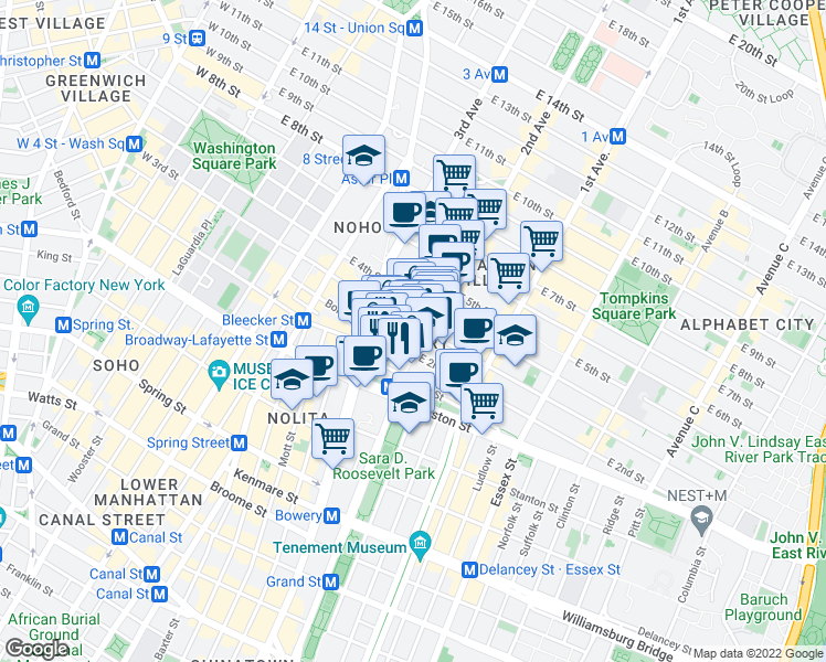 map of restaurants, bars, coffee shops, grocery stores, and more near 32 East 3rd Street in New York