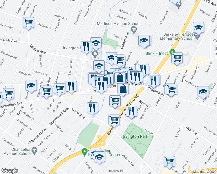 map of restaurants, bars, coffee shops, grocery stores, and more near 10 Smith Street in Irvington
