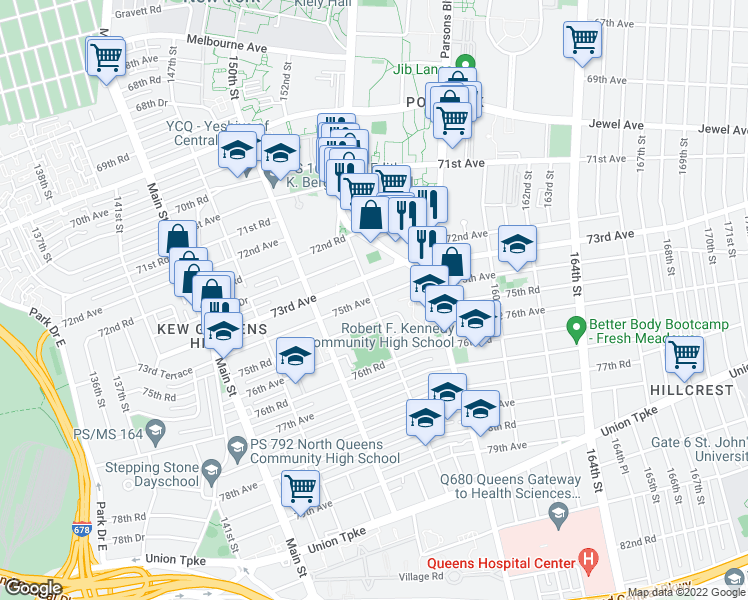 map of restaurants, bars, coffee shops, grocery stores, and more near 75-0-75-98 153rd Street in Queens