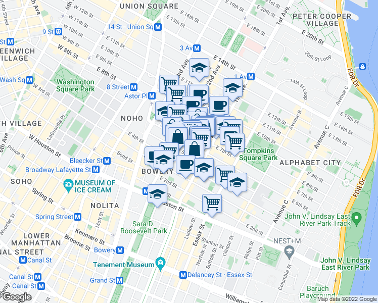 map of restaurants, bars, coffee shops, grocery stores, and more near 325 East 6th Street in New York