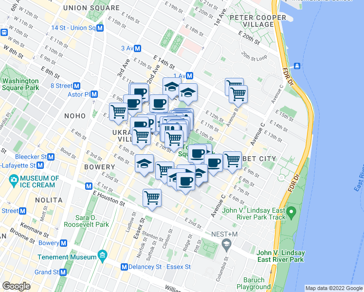 map of restaurants, bars, coffee shops, grocery stores, and more near Avenue A in New York