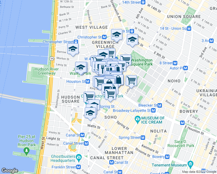 map of restaurants, bars, coffee shops, grocery stores, and more near W Houston St & MacDougal St in New York