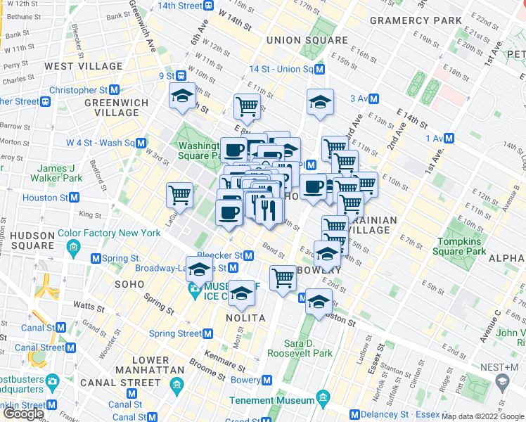map of restaurants, bars, coffee shops, grocery stores, and more near 14 East 4th Street in New York