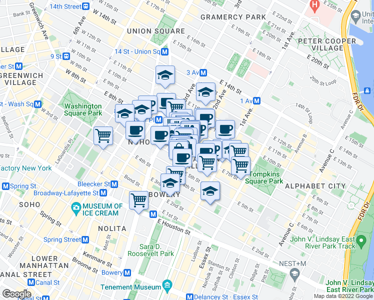 map of restaurants, bars, coffee shops, grocery stores, and more near 39 East 7th Street in New York