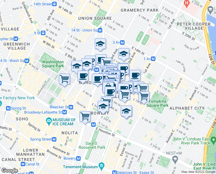 map of restaurants, bars, coffee shops, grocery stores, and more near 36 East 7th Street in New York