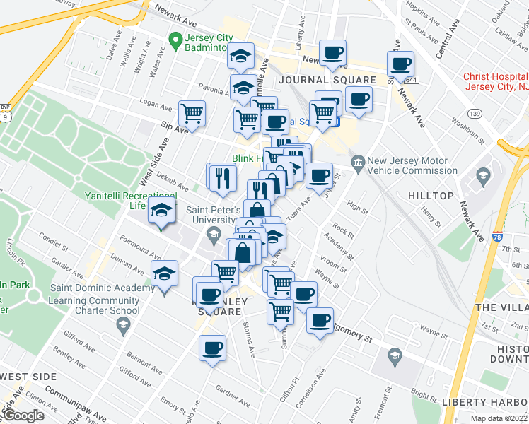 map of restaurants, bars, coffee shops, grocery stores, and more near Bergen Ave & Vroom St in Jersey City