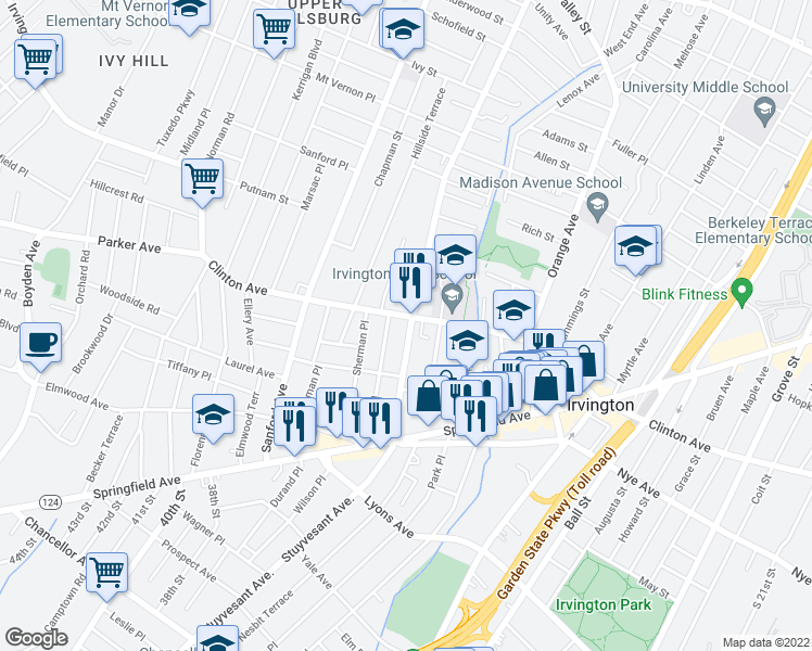 map of restaurants, bars, coffee shops, grocery stores, and more near 555 Stuyvesant Ave in Irvington