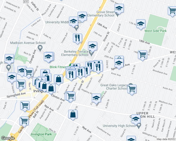 map of restaurants, bars, coffee shops, grocery stores, and more near 787-859 Grove Street in Irvington