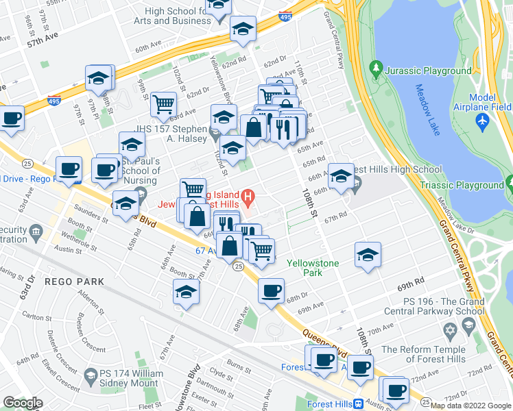 map of restaurants, bars, coffee shops, grocery stores, and more near 103rd Street in Queens