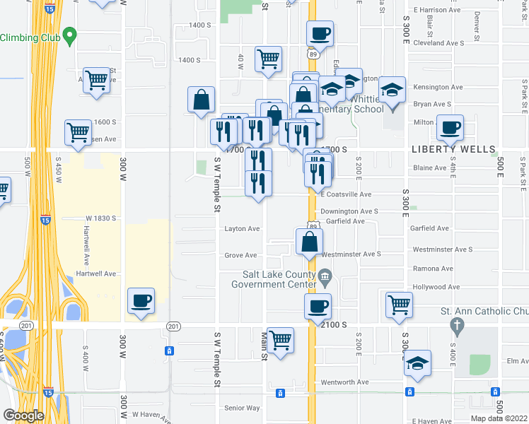 map of restaurants, bars, coffee shops, grocery stores, and more near 1799 S Main St in South Salt Lake