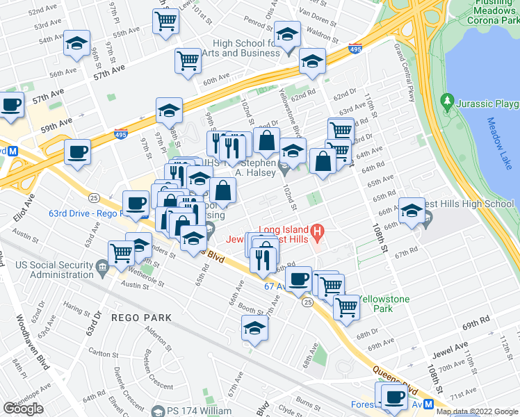map of restaurants, bars, coffee shops, grocery stores, and more near 99-65 64th Road in Queens