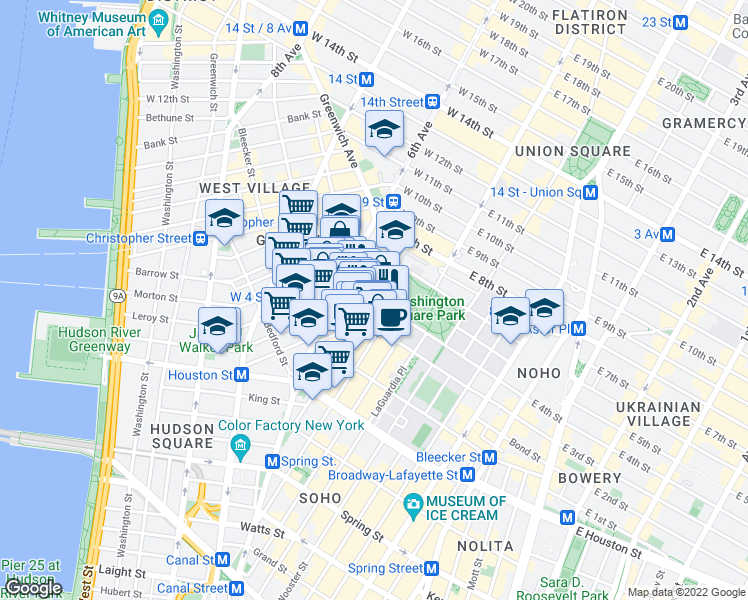 map of restaurants, bars, coffee shops, grocery stores, and more near MacDougal St & Washington Square S in New York