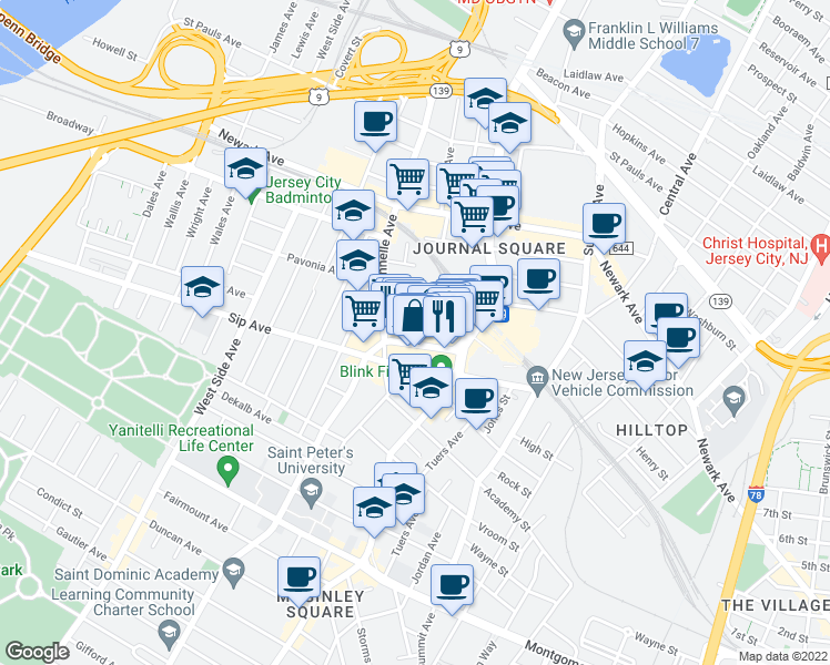 map of restaurants, bars, coffee shops, grocery stores, and more near 278 Magnolia Avenue in Jersey City