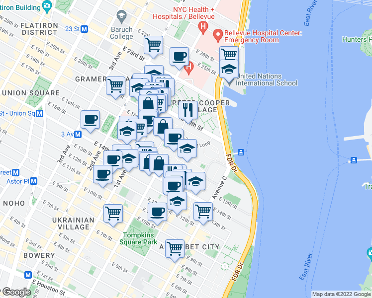 map of restaurants, bars, coffee shops, grocery stores, and more near 20th Street Loop in New York